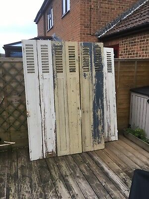 4 Large original French Vintage oak Wooden Window Shutters