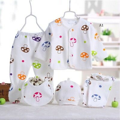 5Pcs Newborn Baby Infant Girls Boy Grow Clothes Sets Hat T-shirt Pants Outfits