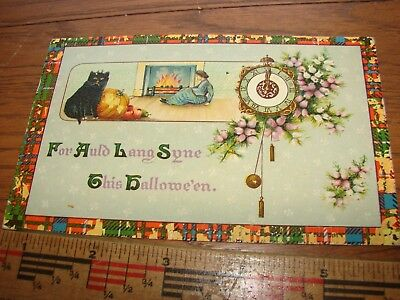 Vintage Halloween post card- For Auld Lang Syne This Halloween