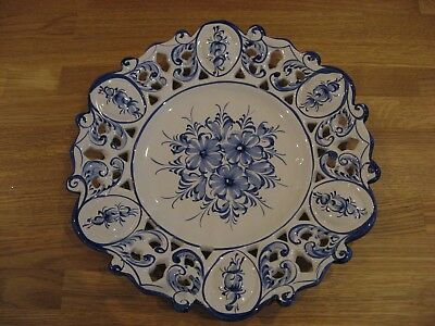 Large Portuguese Vestal Style Pottery Wall Plate. Hand painted  13½ inch dia.
