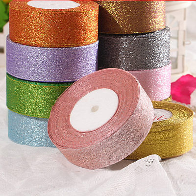 25Yards 20/40mm Glitter Metallic Ribbon Bows Craft Wedding Christmas Party Roll
