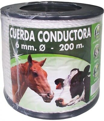 Cuerda conductora blanca 6 mm 200 Mt