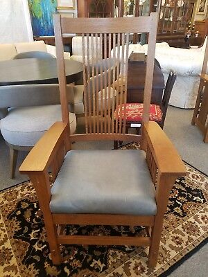 #35 Fayetteville Stickley Dining Chairs with Leather Cushions, Set of 6