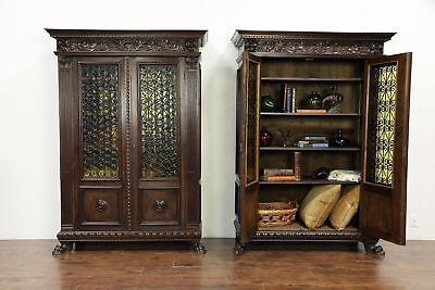 Pair of Antique Italian Bookcases or China Cabinets, Carved Lion Paws #30075