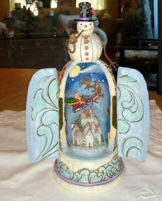 Jim Shore Enesco 4016074 Be Open to Winter's Wonders Snowman hidden scene 8 1/4""