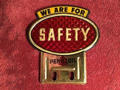 Vintage Pennzoil We Are For Safety License Plate Topper