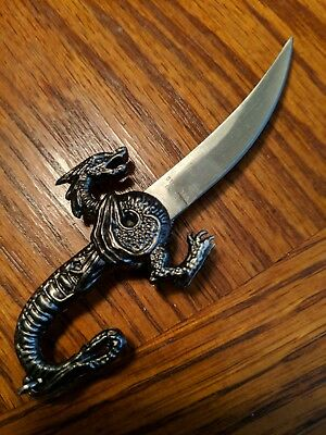 Fantasy Dragon Knife with sheath !!! Looks like Pewter ! NIB !!!