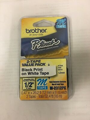 "NEW Genuine 2 Pack Brother P-touch M-231 Label Maker Tape 1/2"" M231 Free Sh"