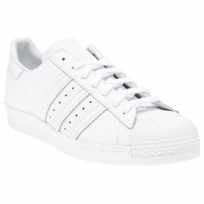 New Mens adidas White Superstar 80's Leather Trainers Court Lace Up
