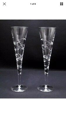 "Pair Of Quality Royal Doulton Crystal ""saturn"" Champagne Flutes Glasses"