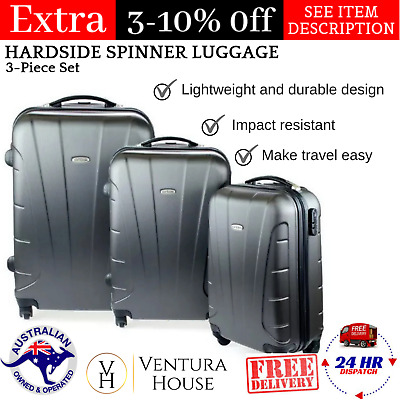Impact Resistant Durable Lightweight Orbis Brand Luggage Set 3 Piece Charcoal AU
