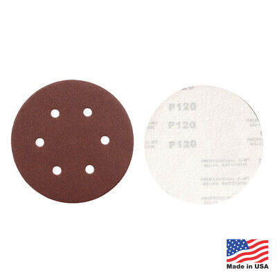 "50 Pack - 100 Grit 6"" Inch x 6 Hole Hook and Loop Sanding Discs Orbital DA Disks"