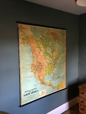 Vintage JOHNSTON Pull Roll Down GEOGRAPHICAL Chart, SCHOOL MAP, North America.