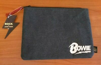 NEW Rock by Junk Food BOWIE Gray Padded Zippered Pouch Case Makeup Bag