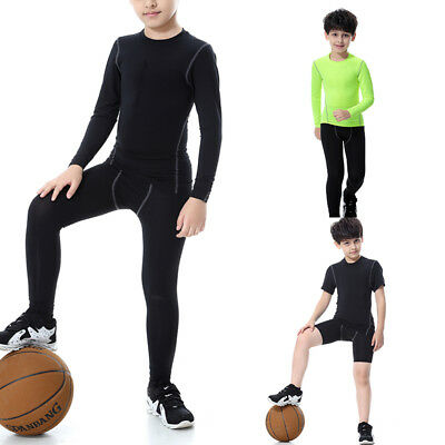 Kids Compression Base Layer Top Tights PRO Gym Sports T Shirt Pants Boys Girls