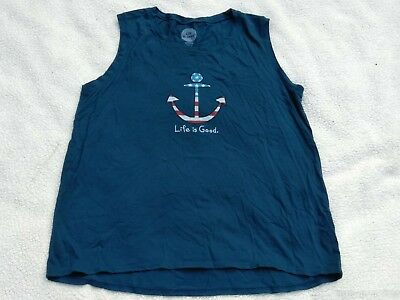 LiFe is GoOD women's size L classic fit sleeveless tee shirt top blue Anchor
