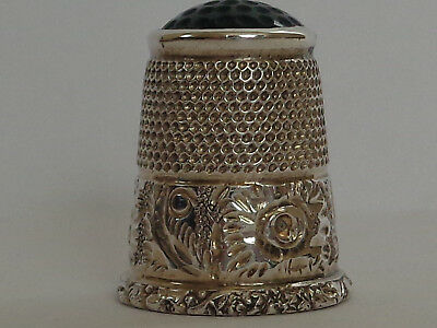 Stunning Rare Large Silver Stone Top Vintage/ Antique Thimble