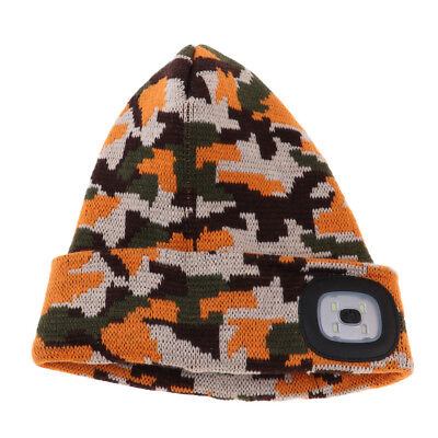Unisex 4 LED Knitted Flashlight Beanie Hat/Cap for Hunting Camping Jogging