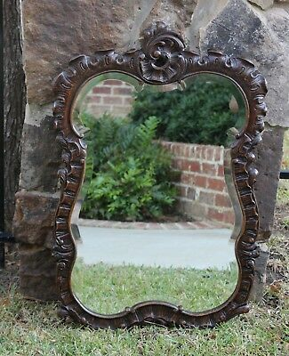 Antique French Hand Carved Oak Beveled Framed ROCOCO Wall Mirror