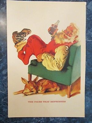 "Vintage Coca Cola 1958 Christmas  Ad Store Sign ""SANTA AN A RESTING DOE """