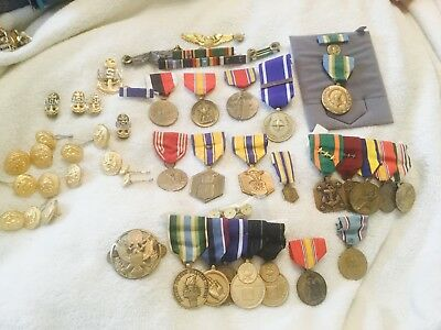 Mixed Lot Of Millitary Medals , Ribbions , Millatary Buttons