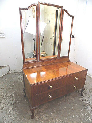 drawers,dressing table,mirror,cabriole legs,dressing drawers,antique,edwardian
