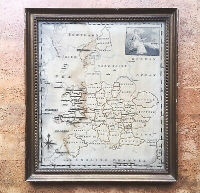 Large Antique Silk Needlepoint Map of England, Early 19th C. Embroidery Sampler