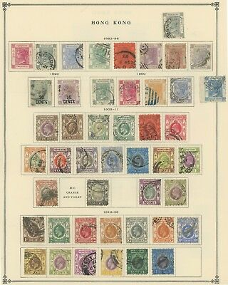 Hong Kong Stamps 1863-1948, Two Scott Album Pages, Incs Some Higher Values