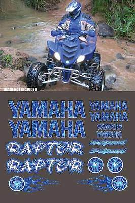 Raptor Yamaha Blue Plasma Flame Airbrush 16pc Quad Decal Stickers 660R, 350, 700