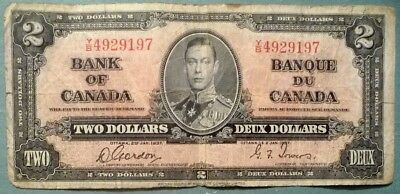 CANADA  2 DOLLARS  NOTE FROM 1937, P 59 b,  SIGNATURE GORDON - TOWERS, GEORGE VI