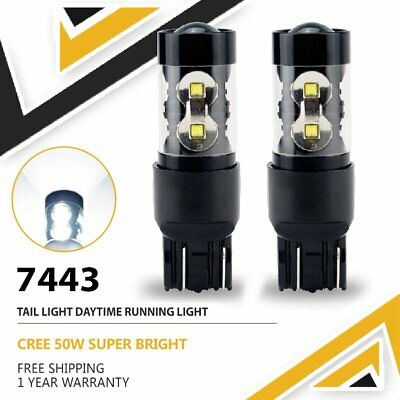 7440 7443 T20 Super Bright 50W White LED Brake Tail Stop Turn Signal Light Bulbs
