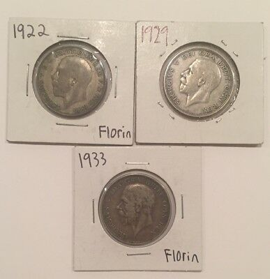 Great Britain Florin Silver Coins Lot Of 3: 1922, 1929, 1933