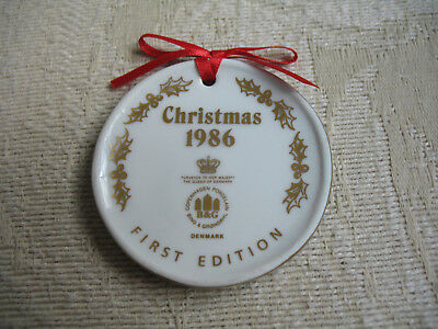 "Bing & Grondahl FIRST EDITION CHRISTMAS 1986 Ornament MINI 2"" Plate Blue Vintage"