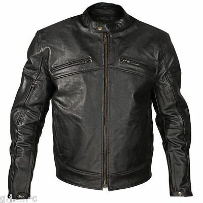 Xelement 105 Mens Armored Black Cowhide Leather Motorcycle Jacket