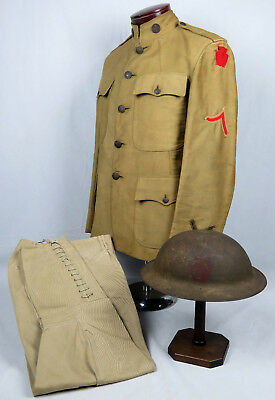 "WWI US 28th ""KEYSTONE"" DIVISION NCO'S SUMMER UNIFORM & INSIGNIA PAINTED HELMET"