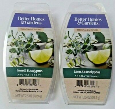Better Homes & Gardens BHG Scented WAX CUBES Aromatherapy LIME EUCALYPTUS 2 Lot
