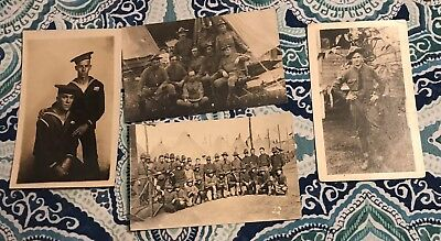 World War I Doughboys Real Photo Postcards And Affectionate Sailors, Lot Of Four