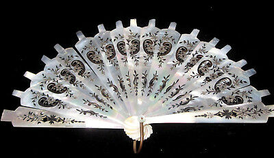 Antique French Hand Carved Iridescent Pearl Hand Painted Part Of Fan Awesome