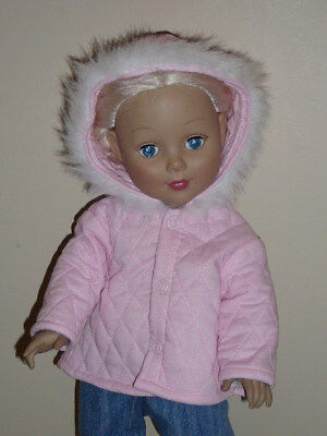 """Pink Quilted Winter Coat for 18"""" Doll Clothes American Girl"""