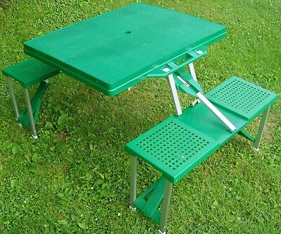 "Portable•Folding•Green•Picnic Table & Benches•Camping•Outdoor•BBQ•34""Lx26""Wx28""H"