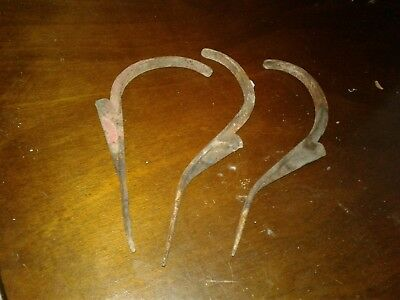 ANTIQUE Cast Iron FIRE STATION POST HOOKS lot of 3