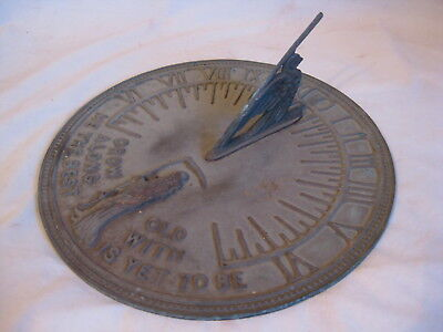 vintage Flora & Fauna Sundial Sun Dial Garden outdoor Grow Old solid metal clock