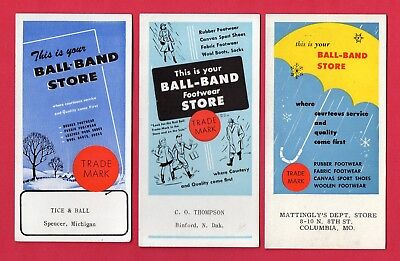 """3 BALL-BAND FOOTWEAR STORES Ink Blotters - 3¼""""x6¼"""", 1940's, Great Cond"""