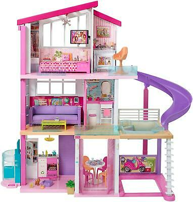Barbie Dream House Pink Pretend Play Set Toy Dollhouse Pool Friends Slide Gift