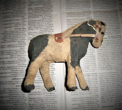 Antique Horse Toy Composition Animal Figure Primitive Wood Fabric Painted Pony