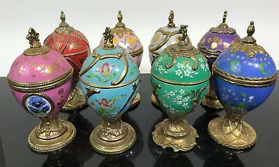 8pc House of Faberge Porcelain Painted Musical Eggs
