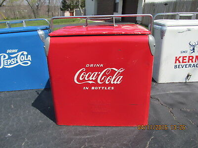 Coca Cola Coke Vintage Red Picnic Cooler 1951 Embossed With Tray