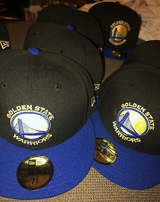 the latest db370 9917c New Era 59Fifty NBA Golden State Warriors Fitted Hat 2Tone Black Blue Sz 7   35