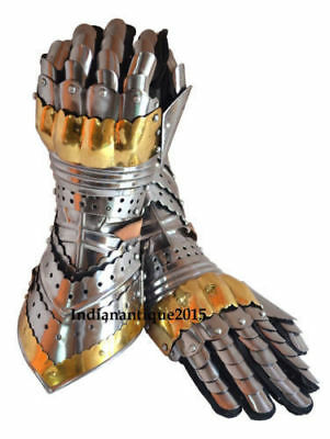 Armor Pair ,Brass Accents Gauntlet Gloves Medieval Knight Crusader Steel Gloves