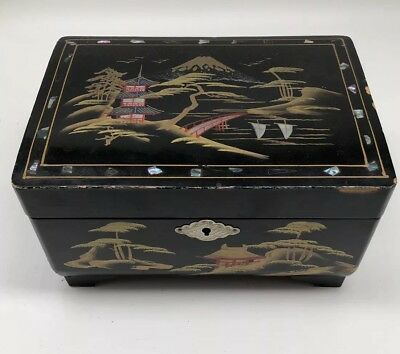 Vintage 1950's ASIAN Scene Musical Wood Jewelry Box Hand Painted  Signed